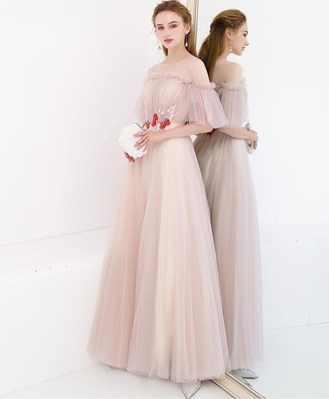 Half Sleeve Fairy Prom Dresses A-line Floor-length Tulle Long Simple Prom Dress