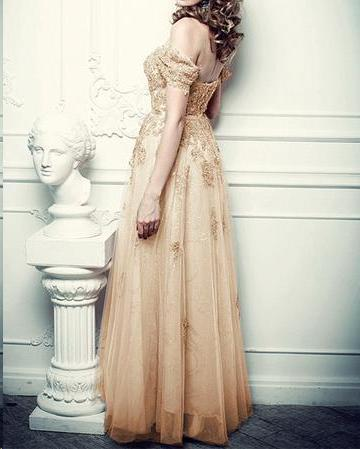 Sparkly Prom Dresses A-line Off-the-shoulder Floor-length Chic Long Prom Dress