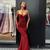 Burgundy Prom Dresses Spaghetti Straps Sheath Long Sparkly Sexy Prom Dress
