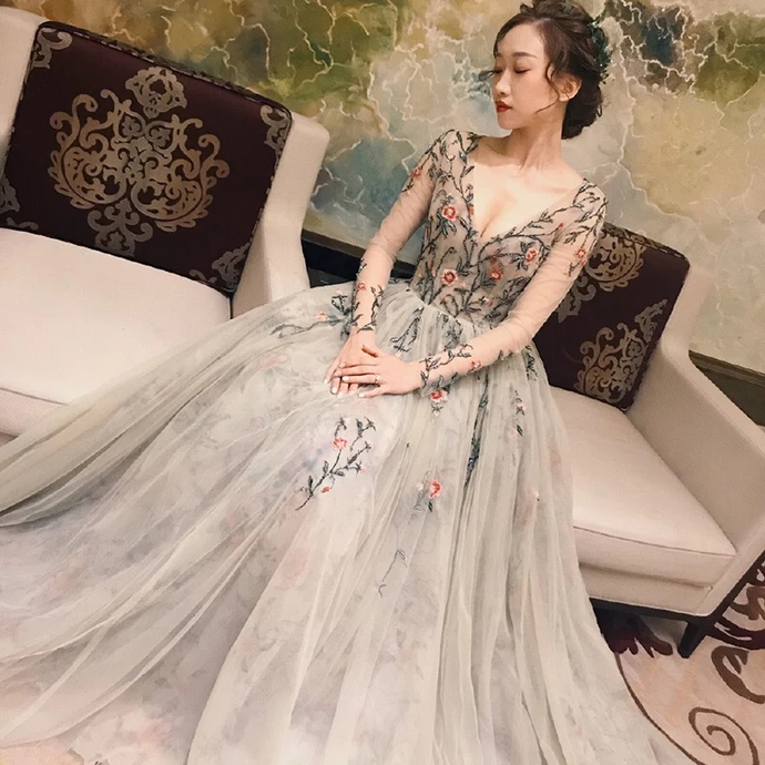 Fairy Long Sleeve Prom Dresses V-neck A-line Embroidery Prom Dress Long Evening