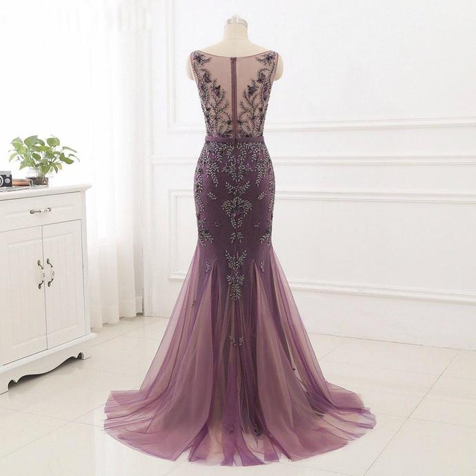 Beading Prom Dresses Scoop Mermaid Short Train Tulle Sparkly Long Chic Prom