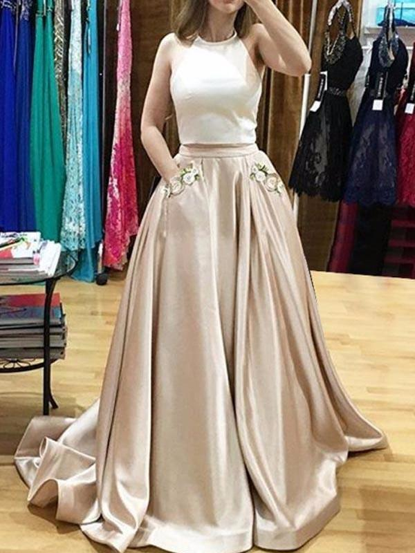 Two Piece Prom Dresses Halter Sweep Train Prom Dress with Appliques Pockets