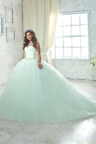 Mint Green Ball Gown Prom Dress, Sweetheart Tulle Beaded Quinceanera