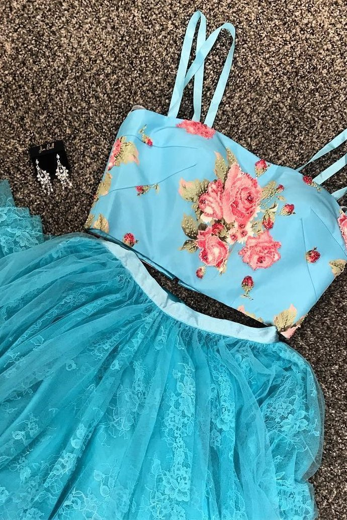 Two Piece Prom Dresses Spaghetti Straps Sexy Embroidery Lace Long Prom Dress