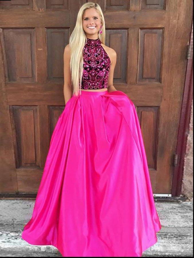 Two Piece Prom Dresses High Neck A-line Rhinestone Long Fuchsia Sexy Prom Dress