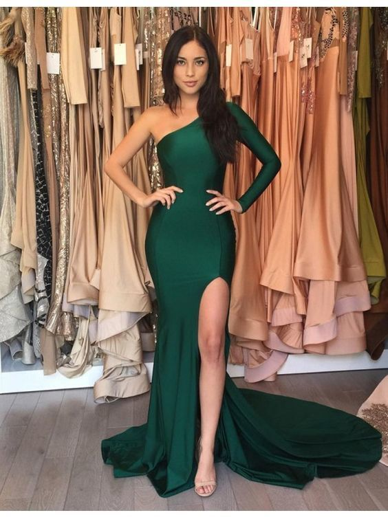Sexy Hunter One Shoulder Long Sleeves Split Long Mermaid Prom Dress With Pleats