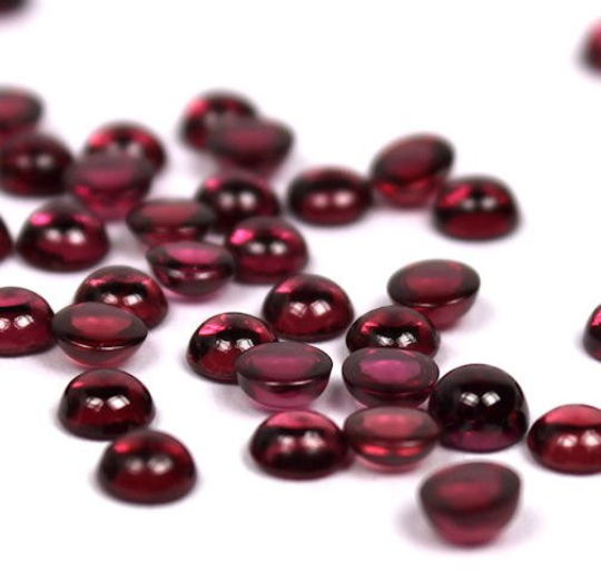 4mm Rhodolite Garnet Cabochon - 3 pieces