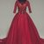 Burgundy Tulle Mid Sleeve Long Open Back Vintage Prom Dress, Party Dress