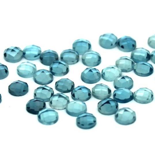 4mm London Blue Topaz Rose Cut Cabochon - 3 pieces