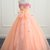 Cute Peach Pink Sweetheart Long Prom Dress For Teens, Party Dress With Applique