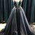 Black Tulle Deep V Neck Long Open Back Beaded Prom Dress With Applique