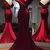 Burgundy Satin Off Shoulder V Neck Long Mermaid Evening Dress, Prom Dress