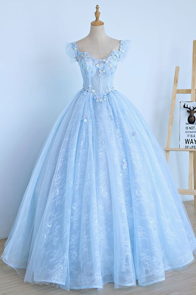 Light Blue Lace Cap Sleeve Long Sweet 16 Prom Dress, Evening Dress
