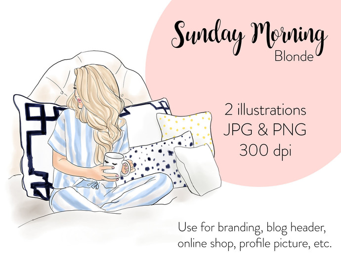 Watercolor fashion illustration - Sunday Morning - Blonde