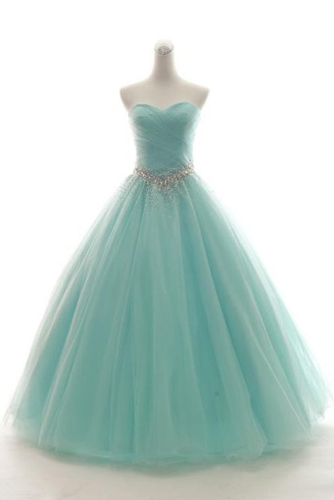 Sweetheart Neck Mint Tulle Sleeveless Floor-length Formal Prom Dress, Prom Gown