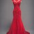 Red Lace Long Train Mermaid Cap Sleeve Evening Dress, Formal Prom Dress