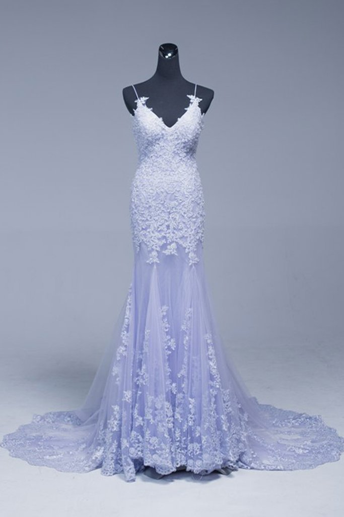 Lavender Lace Appliques Beading Long Mermaid Evening Dress, Prom Dress