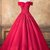 Red Tulle Off Shoulder Long V Neck Prom Dress, Lace Formal Dress