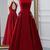 Burgundy Satin Long Open Back A Line Evening Dress, Senior Prom Dress