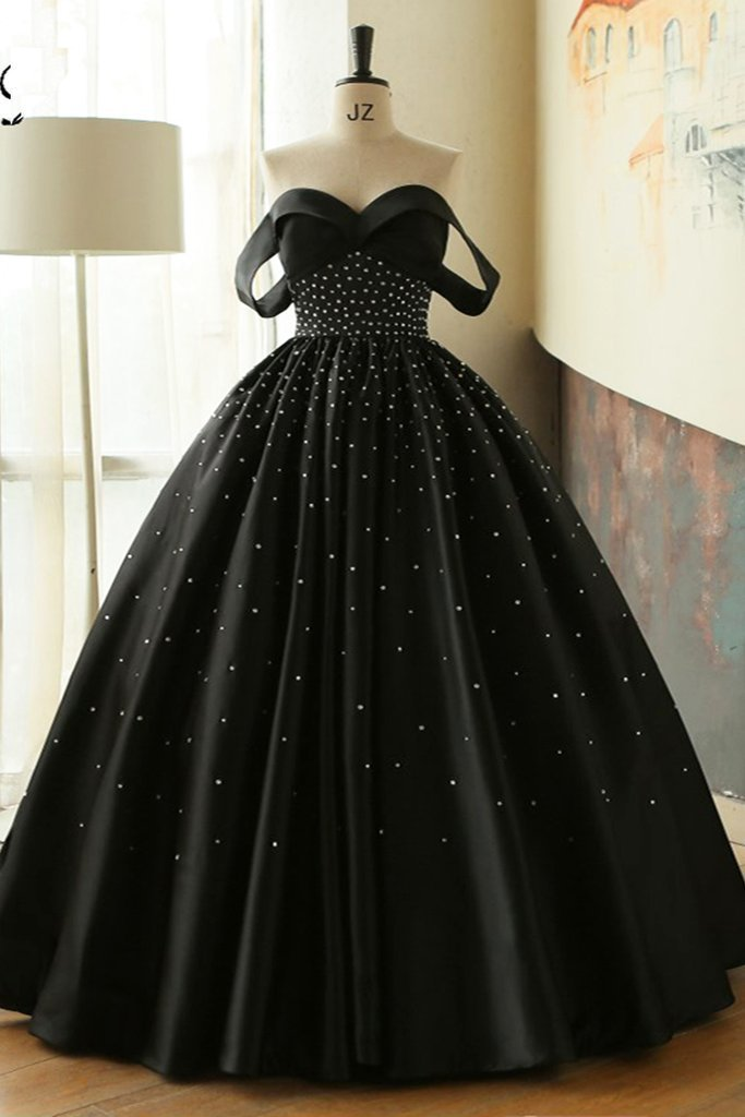Unique black satin off shoulder long beaded prom dress with sleeve