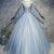 Blue grey tulle scoop neck long beaded formal prom dress with sleeves