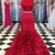 Red satin two pieces long mermaid ruffles evening dress, long senior prom dress
