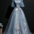 Unique blue gray tulle puffy sleeves long evening dress, long strapless lace