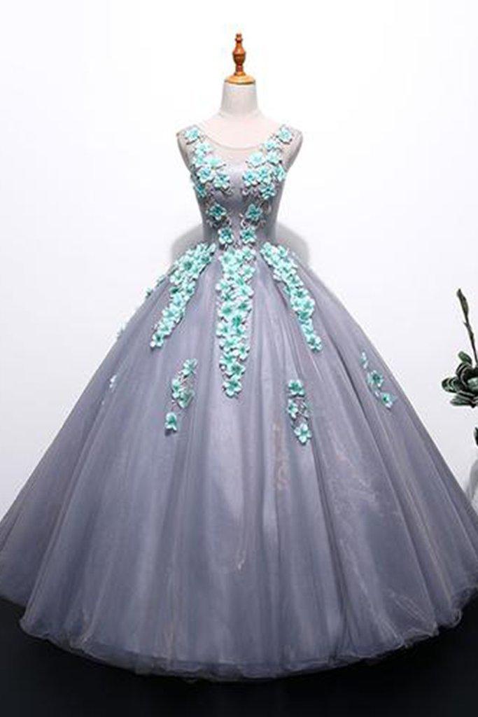 Unique gray tulle long winter formal prom dress with appliqués, long plus size