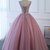 Pink tulle floor length senior prom dress with lace appliqués, long A-line