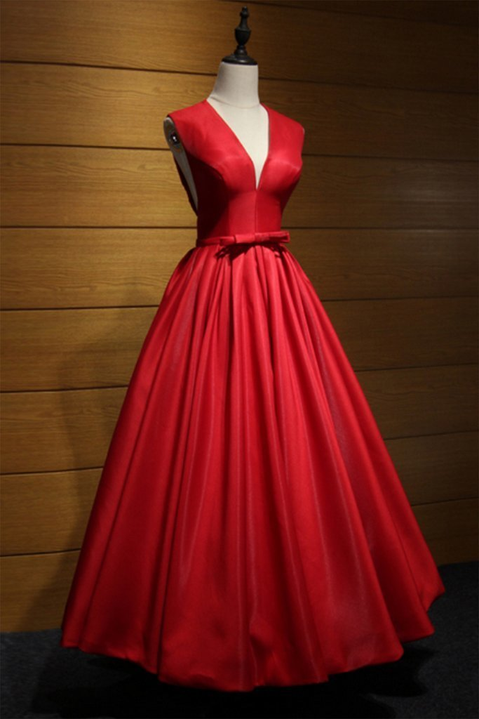 Red satin V neck hollow out back long senior prom dress with bowknot