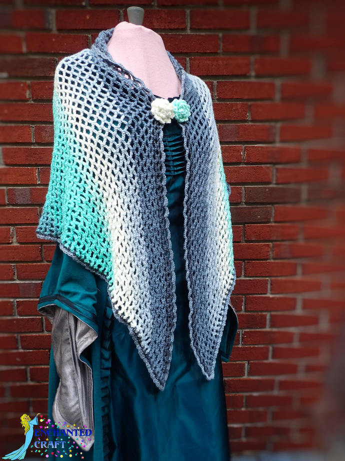Wonderful Crochet ombre' ocean blues shawl, scarf, wrap, fun, handmade, teal,