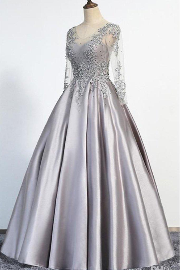 Gray satin v neck long senior prom dress with sleeves, long beaded evening dress