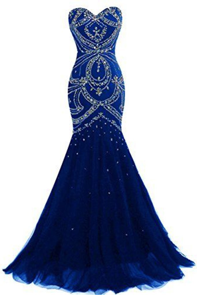 Luxury navy blue tulle sweetheart sequins beaded backless mermaid long prom