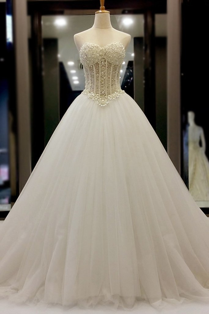 White organza sweetheart beading pearl A-line long prom dresses, wedding dresses