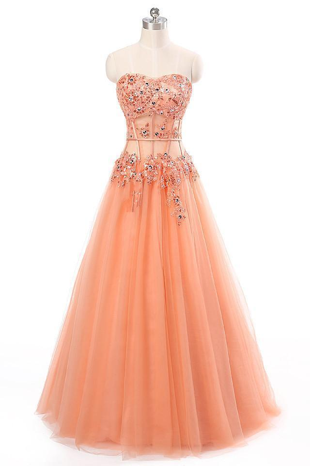 Orange tulle A-line beading formal long dress ,sweetheart long prom dresses for