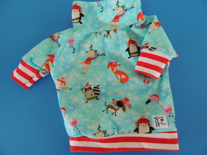 SMALL Christmas Pals cotton tshirt with stripes