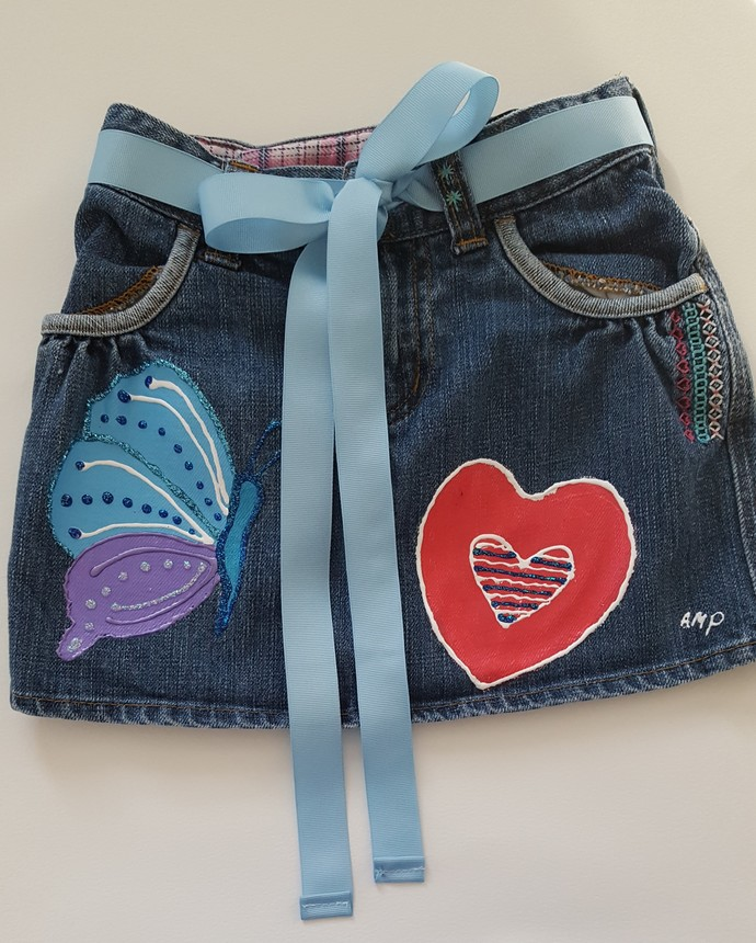 Girl's Denim Skirt - Colorful Butterfly and Bold Heart - Hand Painted Upcycled