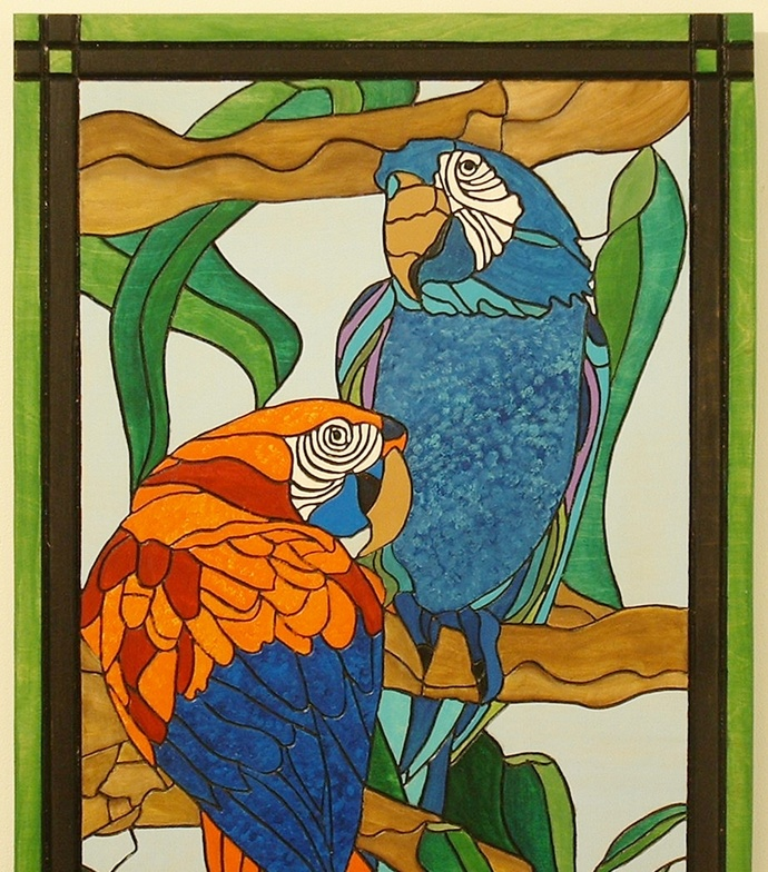 Tropical Parrots, Wood Wall Art, Intarsia, Birds, Wall Hanging Art