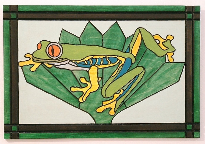 Frog, Wood Wall Art, Tropical, Wall Decor, Intarsia, Hand Painted