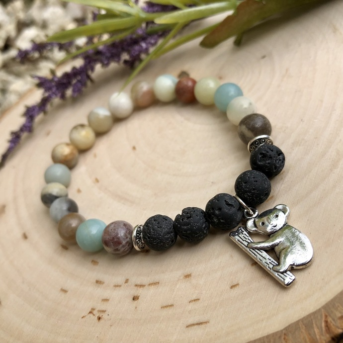 Amazonite and oil diffusing beaded bracelet with koala charms