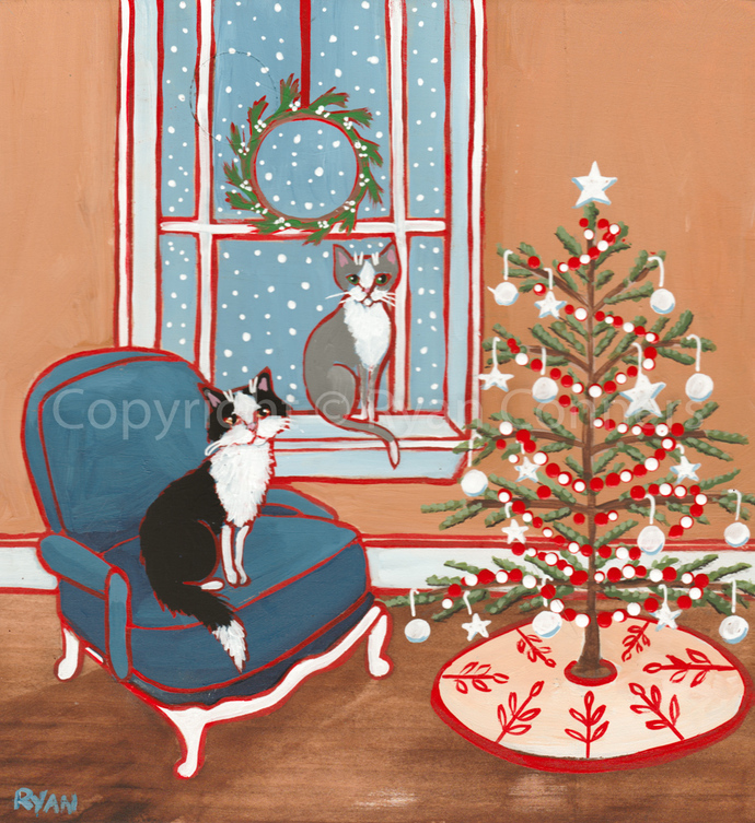 Kitties and Their Christmas Tree Room Original Cat Folk Art Acrylic Painting