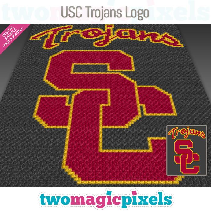 USC Trojans Logo crochet graph (C2C, Mini C2C, SC, HDC, DC, TSS), cross stitch,