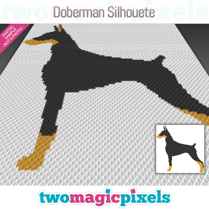 Doberman Silhouette crochet graph (C2C, Mini C2C, SC, HDC, DC, TSS), cross