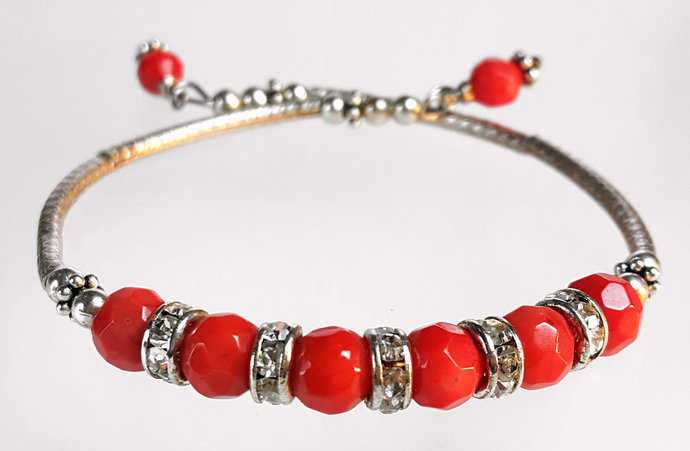 SWAROVSKI CORAL  BANGLE STYLE BRACELETS ON STG MEMORY WIRE HAND MADE  !!