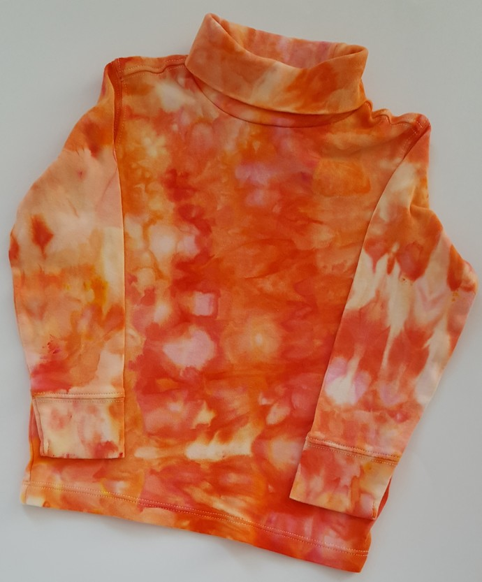 Unisex Turtleneck Top, Ice Dyed Top,  Shades of Red and Orange, Great Holiday