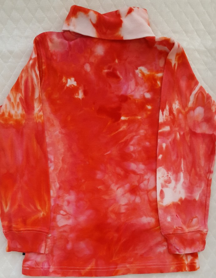 Girl's Turtleneck Top, Ice Dyed Top,  Shades of Red, Great Holiday Top, Winter