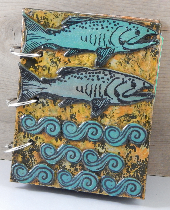 Chinook Salmon Journal - Refillable Blank Book - Sketch Book - Scrap Book -