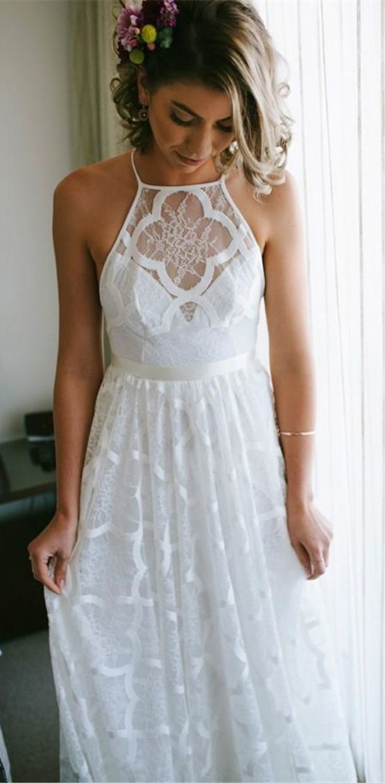A-Line Halter Backless Sweep Train White Lace Wedding Dress with Pleats