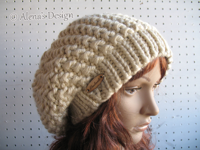 575e75136b1 Women Slouchy Hat Knitted Ladies Winter Hat Handmade Knit Beret Tan Beige  Blue