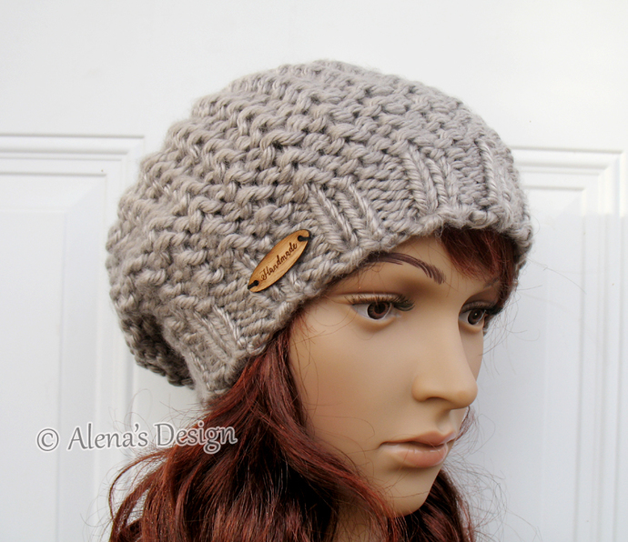 Women Slouchy Hat Knitted Ladies Winter Hat Handmade Knit Beret Tan Beige Blue